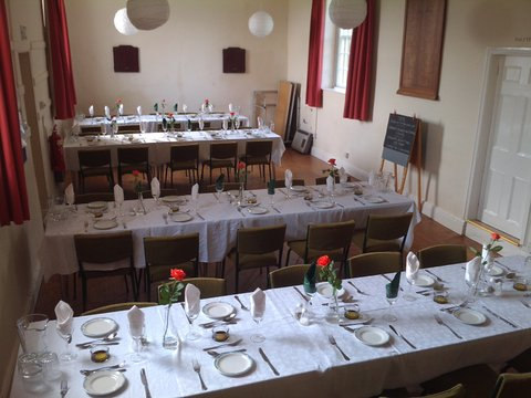 Tables laid ready for supper