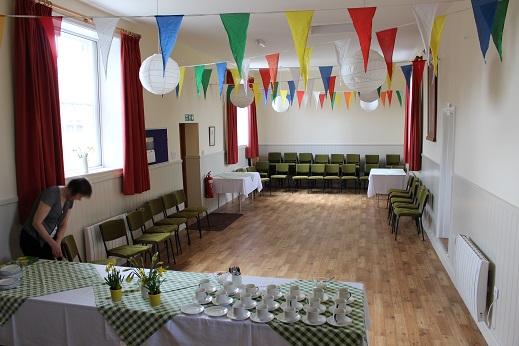 Main hall prepared for buffet